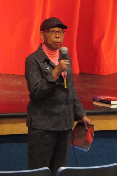 Anne Thomas is Shown speaking to Wheeling Park High School students as part of the school's Black History Month Celebration. Thomas was the first female African American graduate of Wheeling High School.