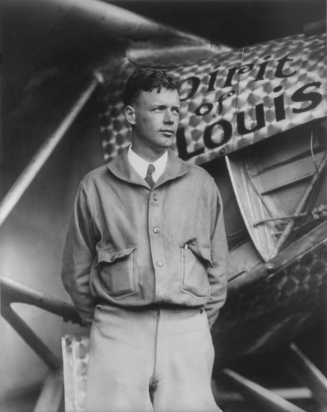 """Charles Lindbergh and the Spirit of Saint Louis (Crisco restoration, with wings)"" by Unknown - This image is available from the United States Library of Congress's Prints and Photographs division under the digital ID cph.3a23920.This tag does not indicate the copyright status of the attached work. A normal copyright tag is still required. See Commons:Licensing for more information.العربية 