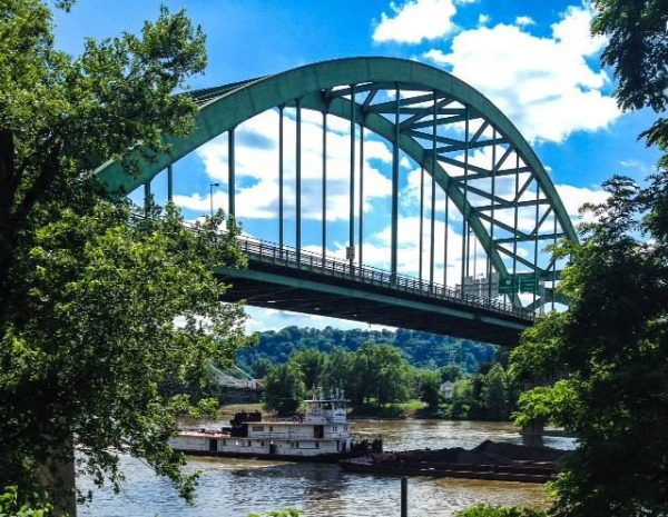 Downtown Wheeling is bordered by bridges along Interstate 70, including the Fort Henry Bridge and three separate overpass systems east of Wheeling Tunnel.