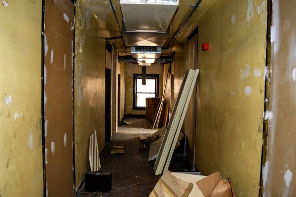 This second-floor hallway runs adjacent to 10th Street in downtown Wheeling.