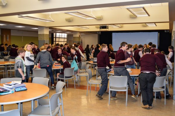 """The """"Great Hall"""" renovation took place a few years ago, transforming the former lunch room area into a multi-purpose facility on the bottom level."""