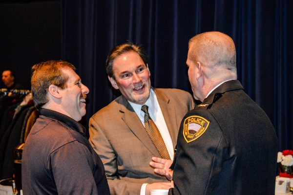 Local attorney Robert Gaudio chats with Wheeling Police Chief Shawn Schwertfeger and WPD Sergeant John Schultz. Each of the three were mentioned during Mayor McKenzie's State of the City Address for their contributions to the Wheeling community.