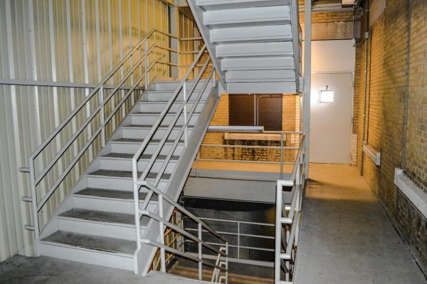 The interior fire escape is an important feature when Goodman guides tours with prospective tenants.