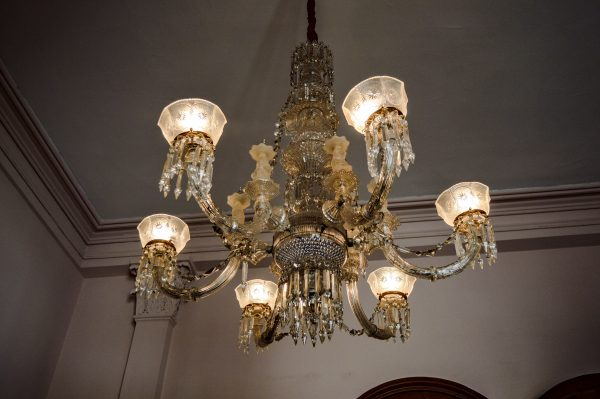 This second floor chandelier once hung within Mount de Chantal Visitation Academy before its demolition, but was saved by a number of donors headed by historian Margaret Brennan. It was created in 1845 by the Hobbs, Brokunier & Co. glasshouse in Wheeling, the largest in the country in 1875.