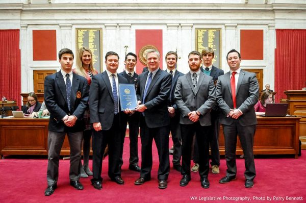 This is one of several times when the two Third House delegates visited with citizens of their district, including this contingent from The Linsly School that included Storch's son, Seth (back row, far right).