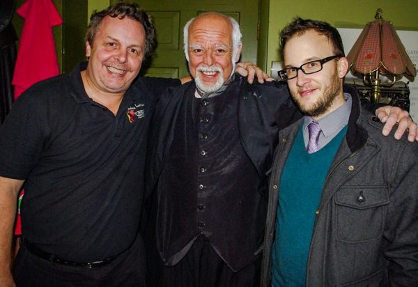 "Playwright Jeremy Richter (far right) stands with ""A Christmas Carol"" director Tim Thompson and lead actor Rob Garrison."