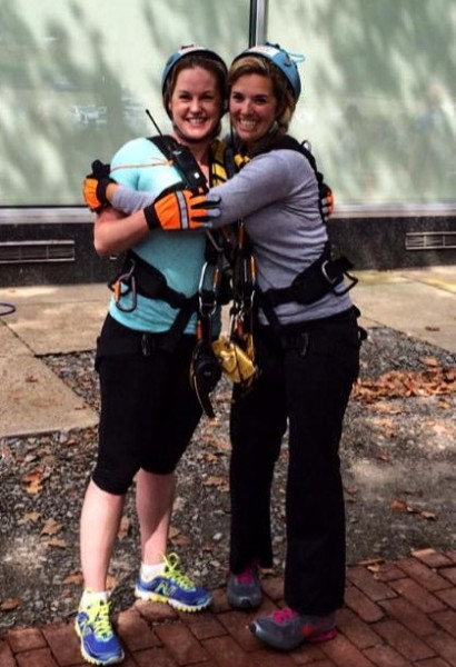 """Connors participated in the YWCA's """"Over the Edge"""" fundraiser last summer with Missy Ashmore and many others at the Stone Center in the downtown district."""