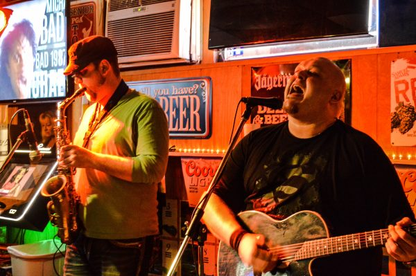 Local musicians Brett Cain (on right) and Jon Banco often play at the bar/restaurant.