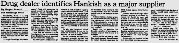 Donnie Clark made headlines in the Pittsburgh Press when he testified in federal court against mobster Paul Hankish in 1990.