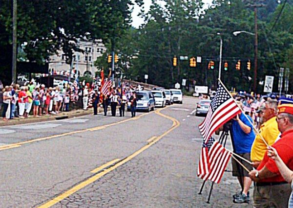 The procession for Capt. David VanCamp attracted hundreds of local residents.