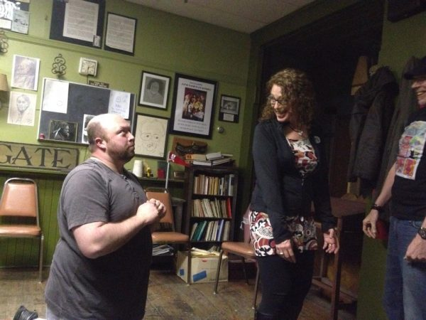Justin Swoyer and Sherrie Dunlevy rehearse one of several skits.