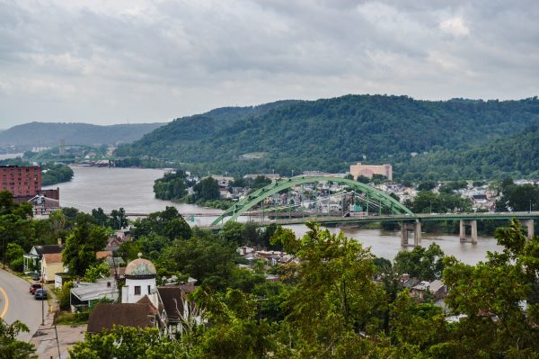 Downtown Wheeling is in plain view from the overlook.