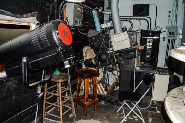 Several pieces of equipment used during the 111-year history of the Victoria Theater can be found in the projector room.