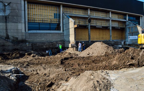 Employees of Colaianni Construction have been busy the past two weeks preparing the arena's front for the new facade.