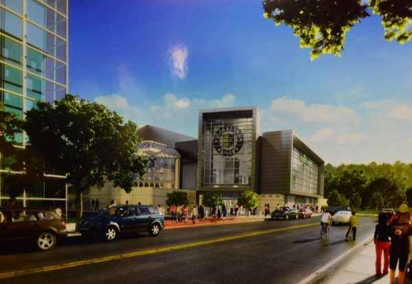 An artist's rendering of the new front facade.