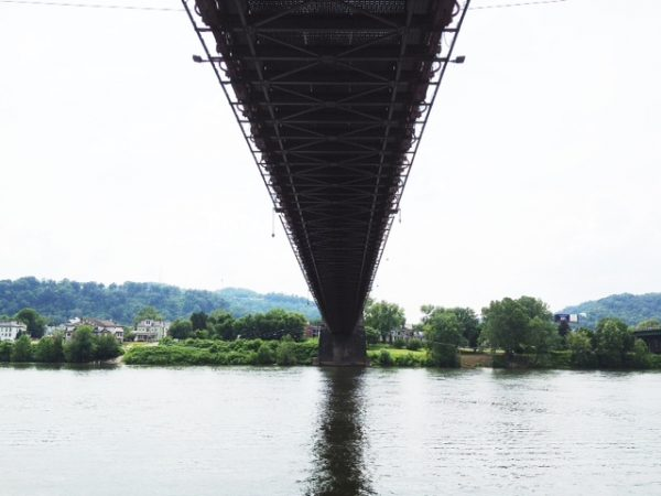 Those utilizing the Wheeling Trails along the Ohio River pass directly under the historic span.
