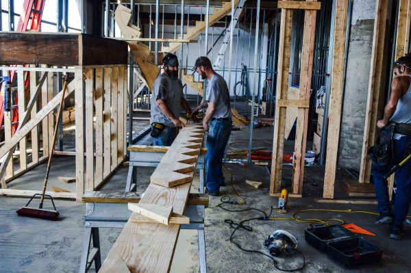 Once the framing for the steps are complete, the construction crews will begin dry walling each unit.