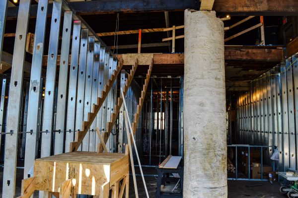 Construction is moving right along on the two-floor lofts.