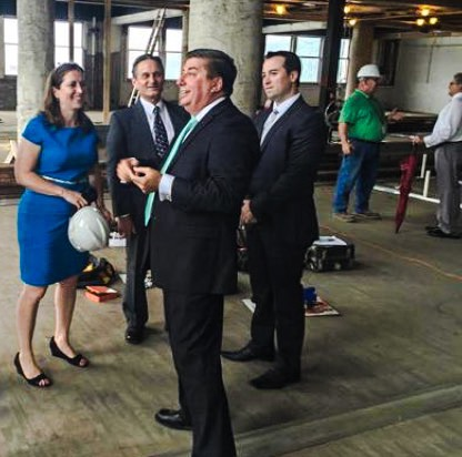 Fahey joined W.Va. Secretary of State Natalie Tennant and Del. Shawn Fluharty (D-3rd) for a tour of the construction of the loft apartments inside the Stone Center.