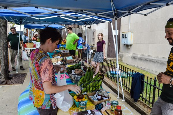 Glynis Board, a new resident of East Wheeling, visits Grow Ohio Valley's farmers markets on Jacob Street.