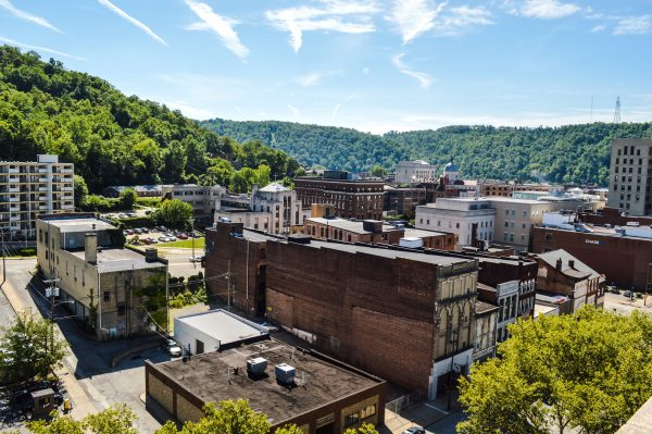 High-rise apartment buildings, parking lots, and vacant buildings is what is left from the decline of downtown Wheeling over the past four decades.
