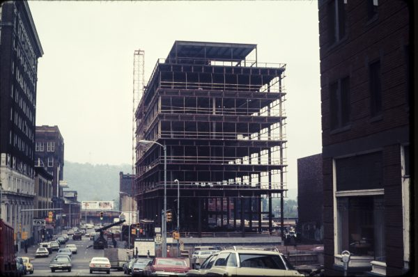 In the mid-1970s the Wesbanco Bank headquarters was under construction at the corner of 14th and Market/Main streets.
