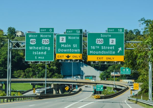 Motorists approaching downtown Wheeling via Interstate 70 westbound have plenty of travel options before Wheeling Tunnel.