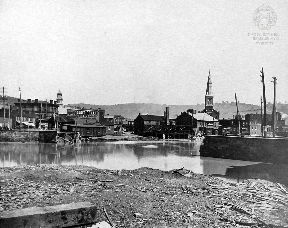 Only the piers remain in this OCPL photo of the second bridge