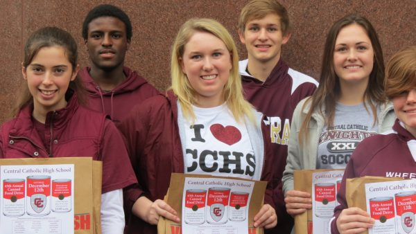 Each and every of Wheeling Central's 258 student helped place the bags, including Gabrielle Kanters, Jaquan Jackson, Lexie Kosanovic, Adam Jarrett, Hannah Dieffenbaugher, and Julie Schuetz.