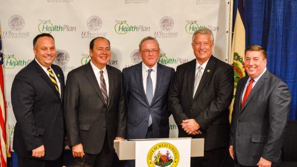Wheeling Mayor Andy McKenzie, W.Va. Gov. Earl Ray Tomblin, Jim Pennington, president and CEO of The Health Plan, W.Va. Senate President Bill Cole, and Wheeling Vice Mayor Gene Fahey.