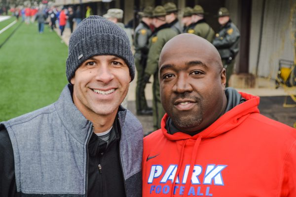 Two members of the 1991 Wheeling Park football team, Matt DiLorenzo and Boogie Johnson, were on the sidelines this past Saturday.