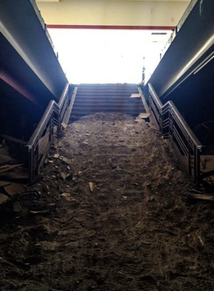 The steps inside G.C. Murphy's were covered with debris at the time it was razed three years ago.