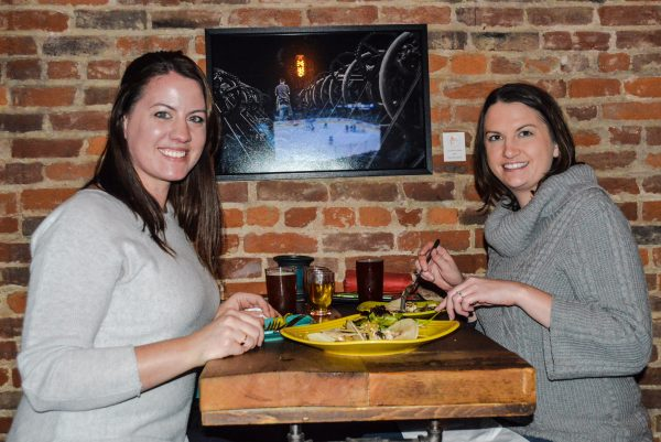 Greta Wetzel from the Washington, D.C. area visits the brewpub with long-time friend Rachael Wagner from the Woodsdale section of Wheeling.