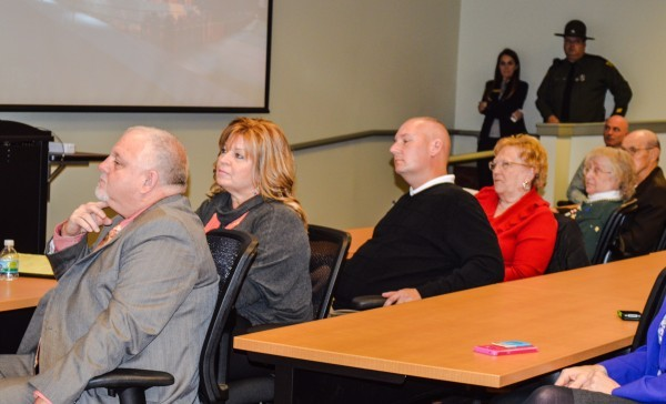 "Council members (from left) Don Atkinson (with his wife, Gail, seated next to him), Ken Imer, Gloria Delbrugge, and Robert ""Herk"" Henry attended The Health Plan's press conference in the Stone Center."