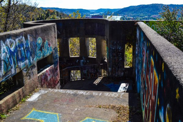 Graffiti covers much of the Mount Wood Overlook today.