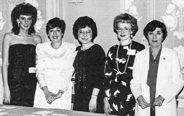My mother, Marilyn Novotney (fourt from left) attended many of the employee banquets with her co-workers.