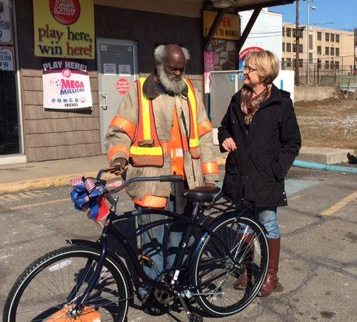 Waldrum received a new bike from the owner of Moon River Studios (Mary Ellen Bennett) in February 2015.