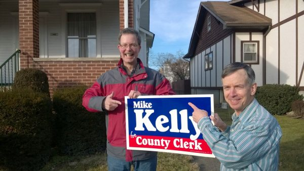 Mike Kelly, the candidate, and Mike Kelly, the cousin who is a retired Madison Elementary teacher who is still involved with tutoring.