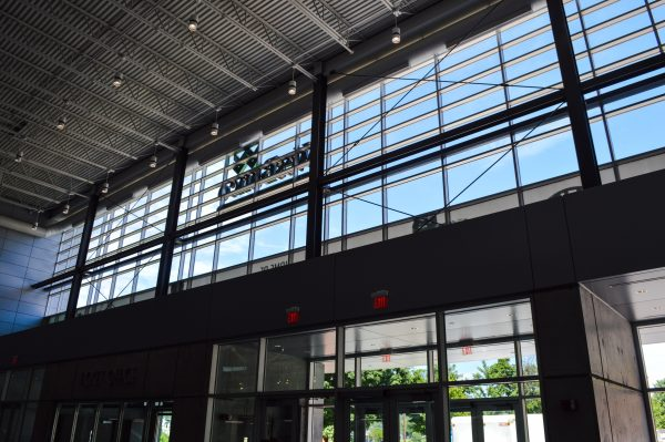 The lobby features a plethora of natural light during the daytime.