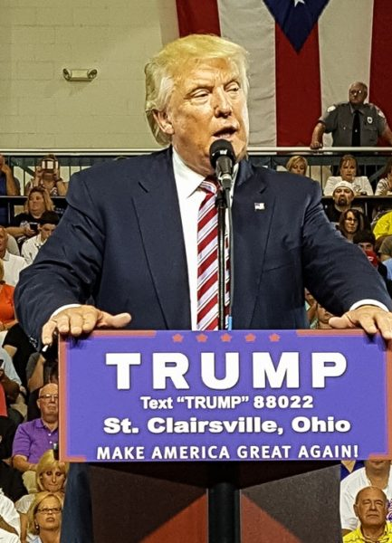 Following the fundraiser in Wheeling candidate Trump addressed a large crowd on the campus of Ohio University Eastern. (Photo by John Bishop)