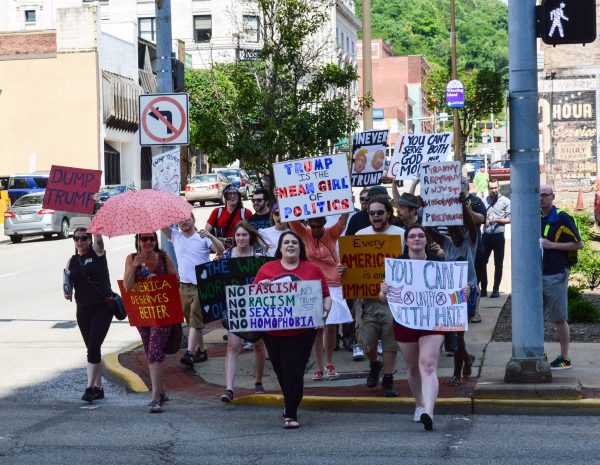 Local residents protested the Murray-Trump event in downtown Wheeling.