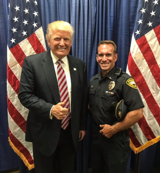 Donald Trump with Wheeling Police Lt. Phil Redford.