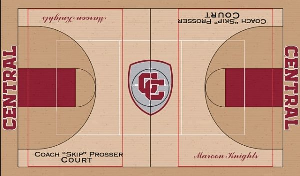 This is an artist's rendering of how the basketball court will appear when the project is completed.