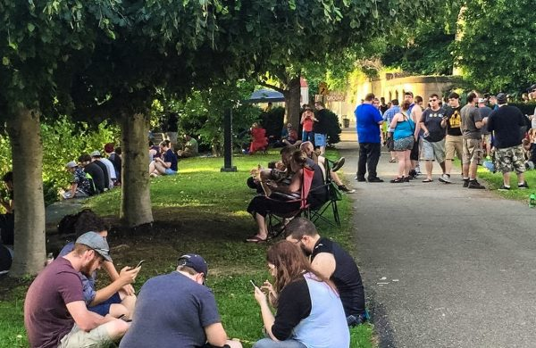 A large crowd gathered at Heritage Port on Sunday with hundreds of Pokemon Go players.