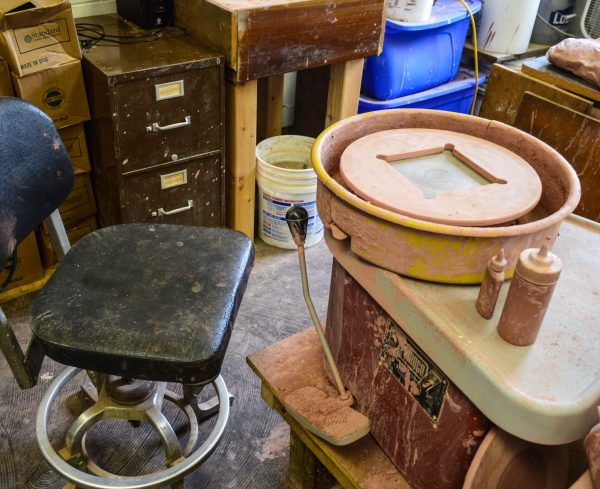 His potter's wheel is visible to those who visit East Wheeling Clay Works.