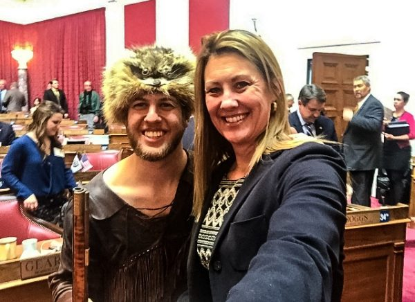 The West Virginia lawmaker with the West Virginia Mountaineer, Michael Garcia.