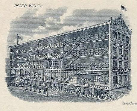 This illustration shows the size of the Welty building that once housed a distribution business in downtown Wheeling.