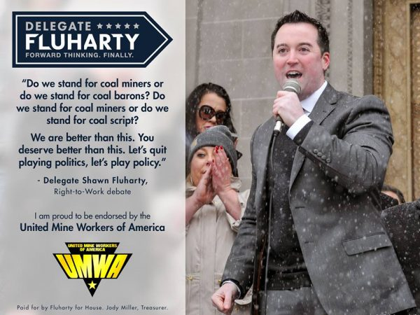 As one of 100 members in the House of Delegates, Fluharty has attracted endorsements from a number of labor organizations.