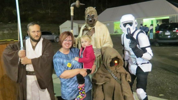 Sondra Jackson (middle) is visited by the Star Wars character during last year's event.