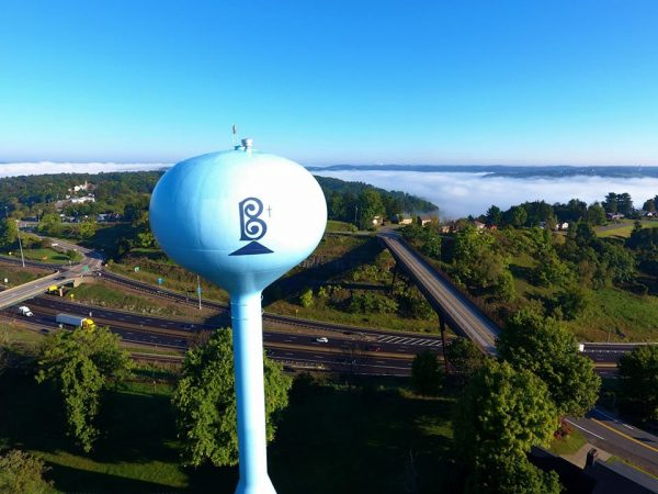 Broadwater navigated his drone to this position west of the Bethlehem water tower.